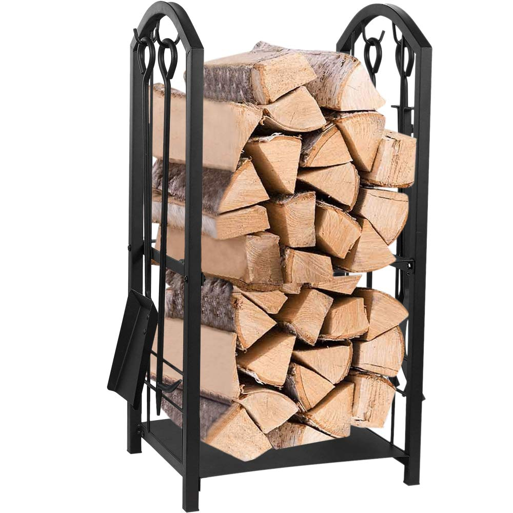 Juvale Firewood Rack with 4 Fireplace Tools - Fireplace Log Holder for Indoor and Outdoor Use, Iron Fire Log Holder Storage Set Includes Brush, Shovel, Poker, and Tongs, 15 x 29 x 13 Inches by Juvale