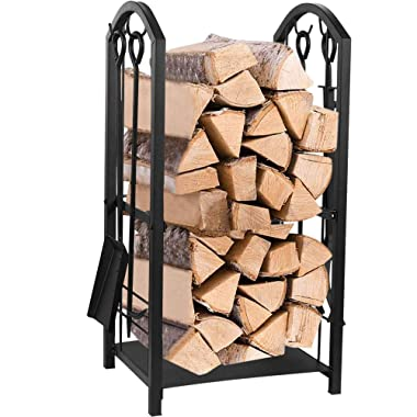 Juvale Firewood Rack with 4 Fireplace Tools - Fireplace Log Holder for Indoor and Outdoor Use, Iron Fire Log Holder Storage Set Includes Brush, Shovel, Poker, and Tongs, 15 x 29 x 13 Inches