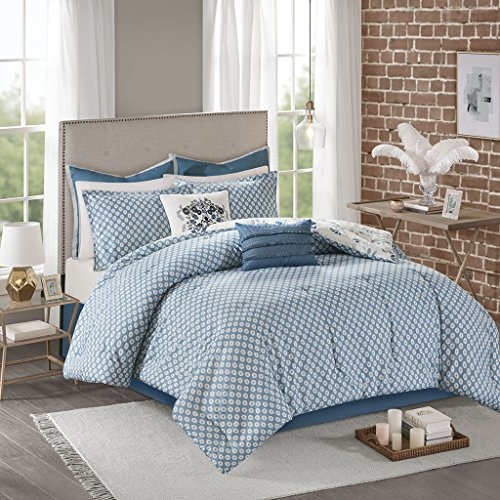 Madison Park Eden Comforter Cotton Percale Blue Gray Flower Floral Botanical Printed Ultra Soft Reverse Overfilled Down Alternative Hypoallergenic All Season Bedding-Set, King, Grey