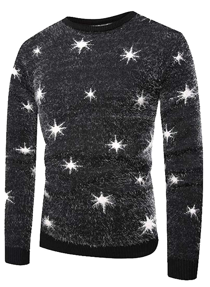 Heless Mens Knitted Fluffy Print Round Neck Casual Pullover Sweater Jumper Top