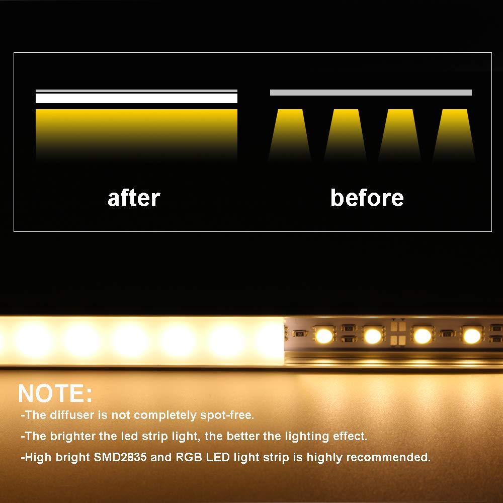 LED Aluminum Channel 40x3.3ft,LED Profile with Cover and Complete Mounting Accessories for Led Strip Light Installation