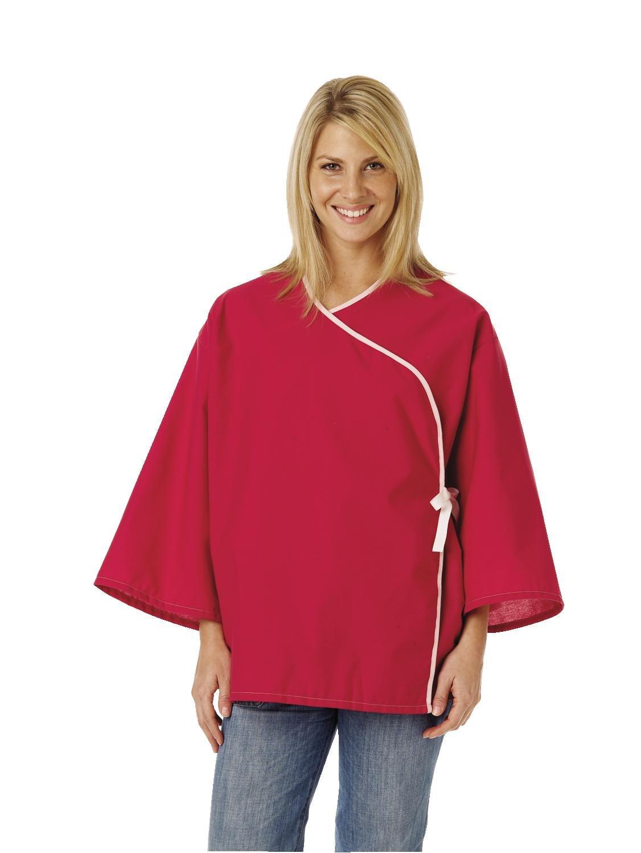 Medline MDTSG5RFORUB Crisscross Front Mammography Jacket, Ruby (Pack of 12)