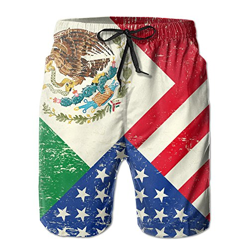 Men's Mexican American Flag Quick-drying Swim Trunks Board Shorts Beach Shorts