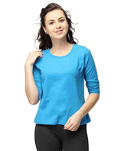 Campus Sutra Women Round Neck Quarter Sleeve T-Shirts Tops at amazon