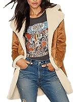 Allbebe Womens Winter Faux Long Suede Lamb Wool Coat Shearling Jacket