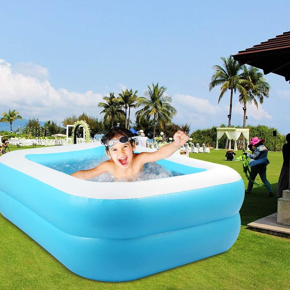 KKTECT Piscina Inflable, Segundo Anillo PVC Resistente Piscina Portátil Rectangular Familiar, para niños, Adultos al Aire Libre Juego de jardín Interior Azul (M): Amazon.es: Jardín