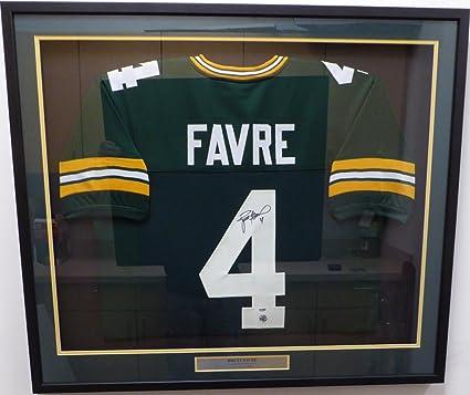 Green Bay Packers Brett Favre Autographed Framed Green Jersey Psa