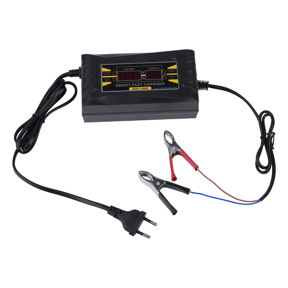 12V 6A Automatic Lightweight LCD Display Smart Fast Car Battery Charger Power Supply Maintainer, Black(EU) Zerone