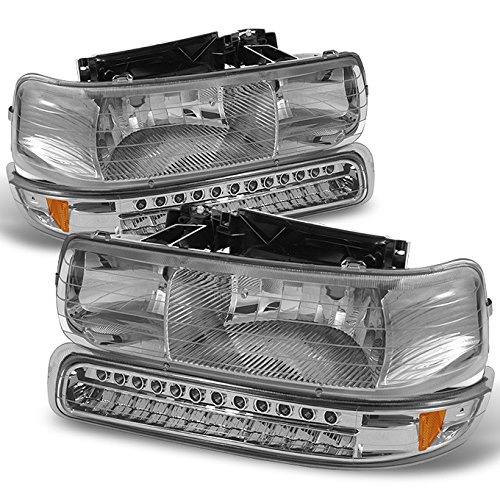 For 99-02 Chevy Silverado Chrome Clear Headlights Replacement + LED Bumper Signal Lights 4pcs Set