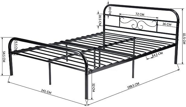 Schwarz Aingoo Metallplattform Betten f/ür Kinder Erwachsene Schwarz, 140 x 190 cm