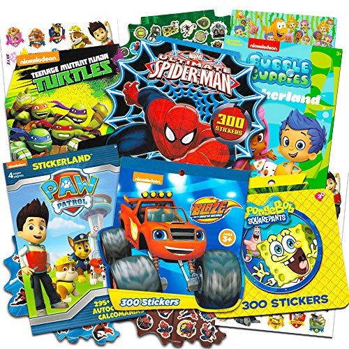 Stickers for Boys Toddlers Super Set ~ 6 Toddler Sticker Books with 1790 Licensed Stickers on 48 Sheets Featuring Paw Patrol, Bubble Guppies, Blaze, TMNT, Spiderman and More (Party Favors Pack)]()