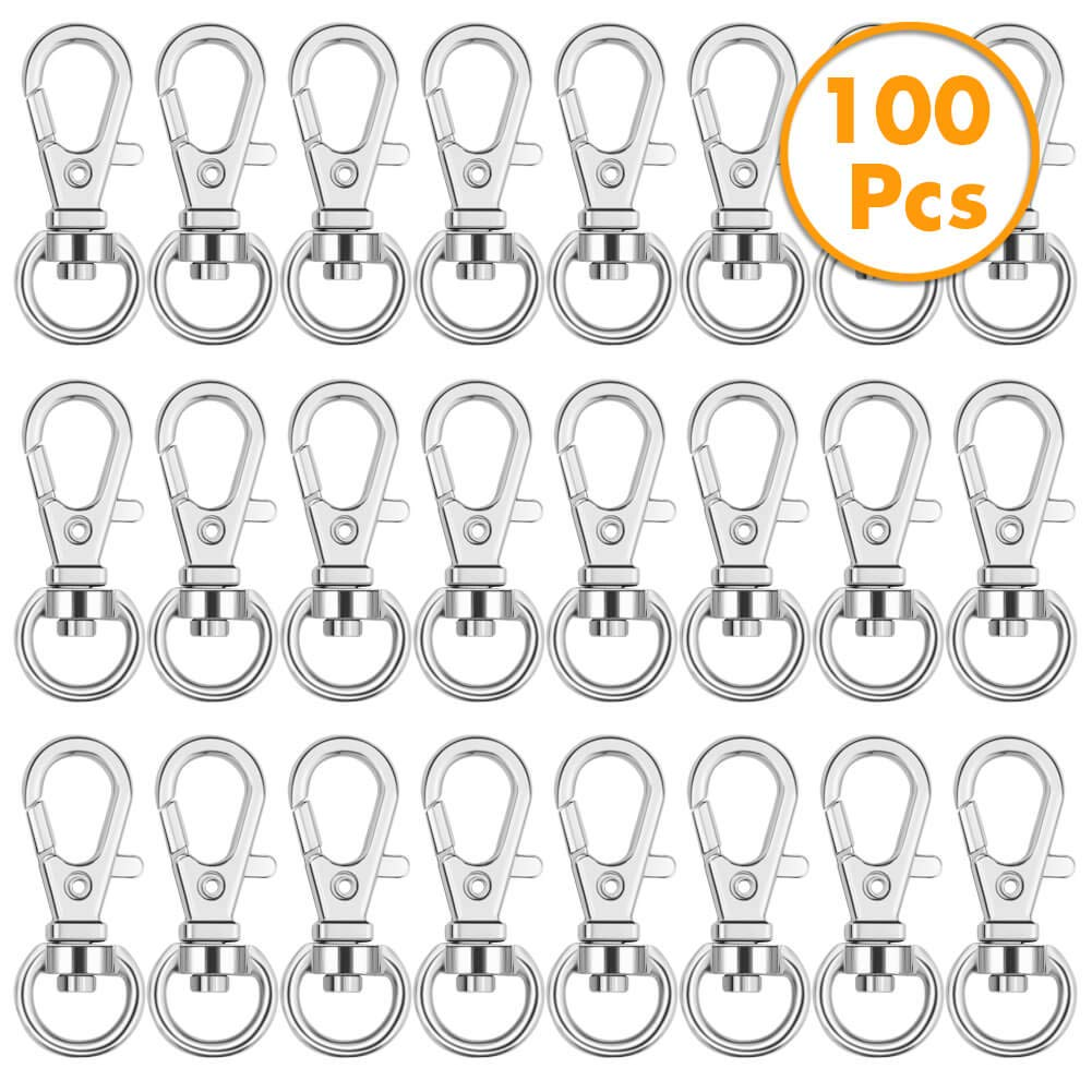 Anezus 100Pcs Key Chain Clip Hooks Swivel Lanyard Snap Hook Keychain Hooks for Lanyard Key Rings Crafting by anezus