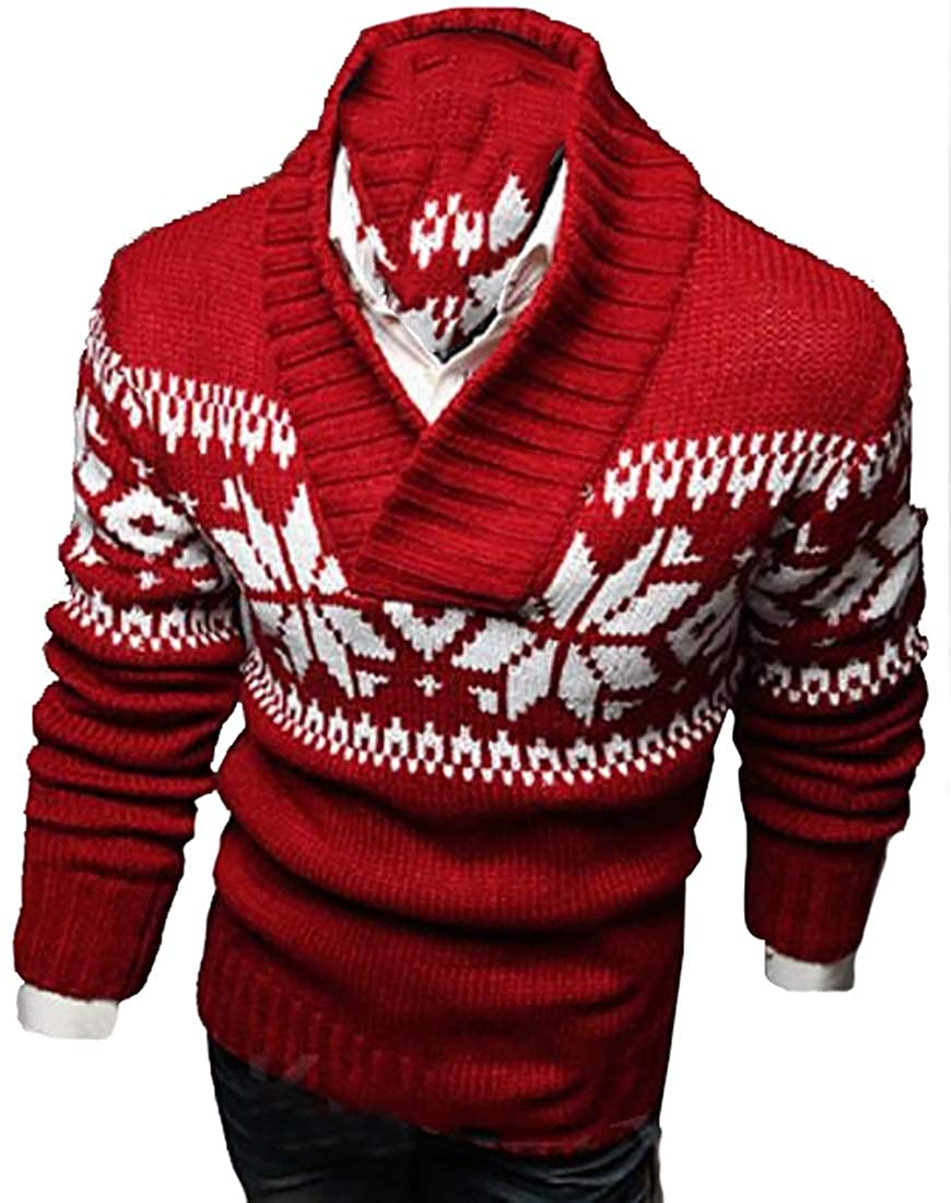 GAGA Mens Turtleneck Snowflake V-Neck Cotton Casual Long Sleeve Knit Thick Sweaters