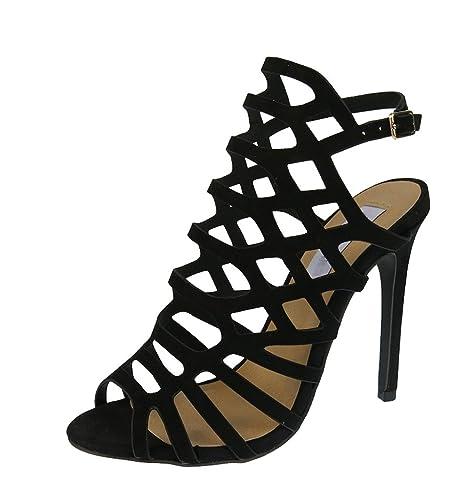 fb3b62f5a37 CAMSSOO Women s Peep Toe Cage Cut Out Slingback Stiletto High Heel Sandal  Black Velveteen Size EU35