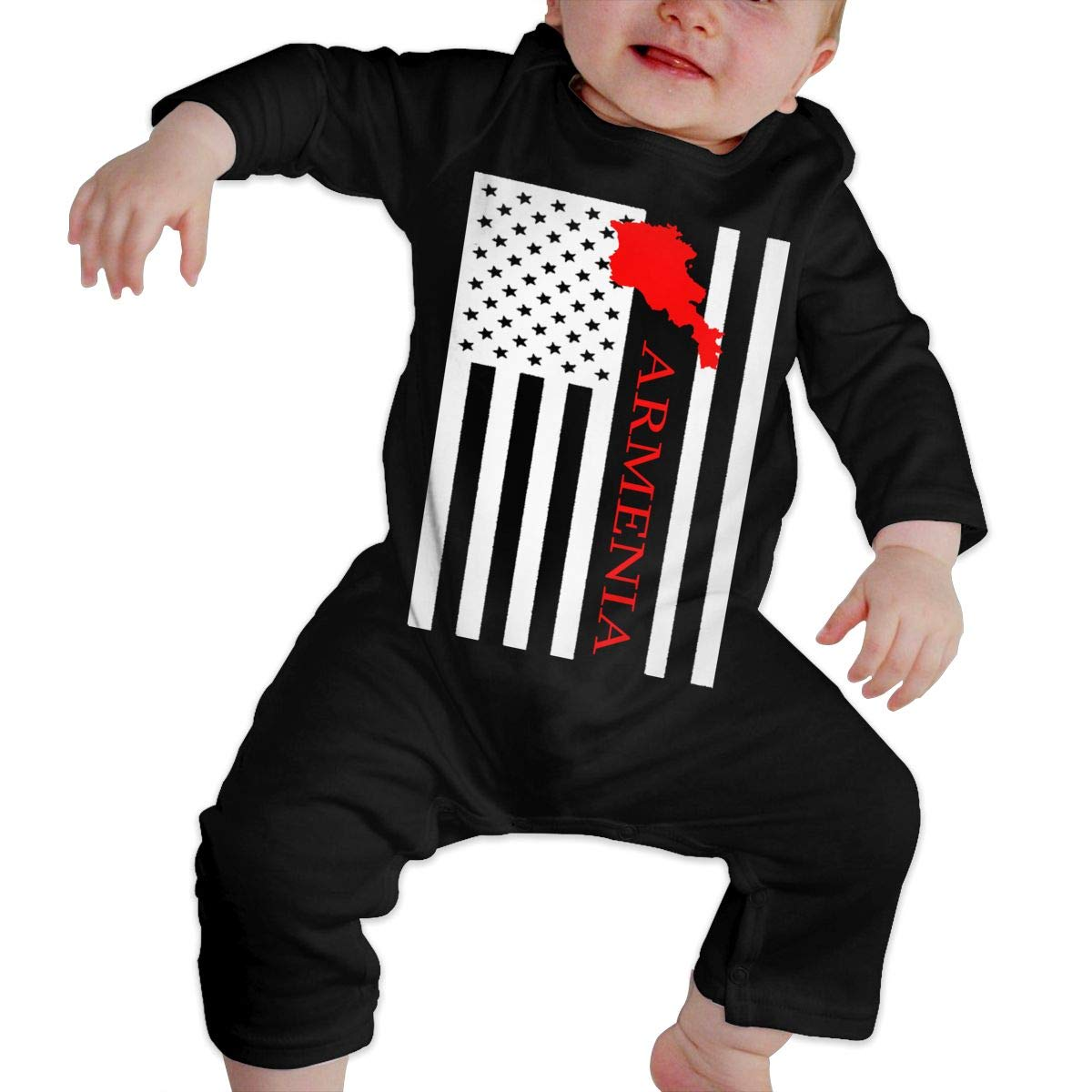 A1BY-5US Infant Baby Boys Girls Cotton Long Sleeve American Flag Armenia Map Jumpsuit Romper One-Piece Romper Clothes