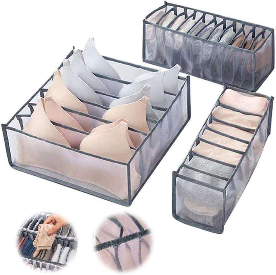 Black 3er-set 2020 2020 6//7//11 Grids Bh Unterw/äsche Schublade Organizer Faltbare Aufbewahrungsf/ächer Staubdicht Zusammenklappbare Nylon-trennbox F/ür Bhs Krawatten Schalsocken Socken Schrank