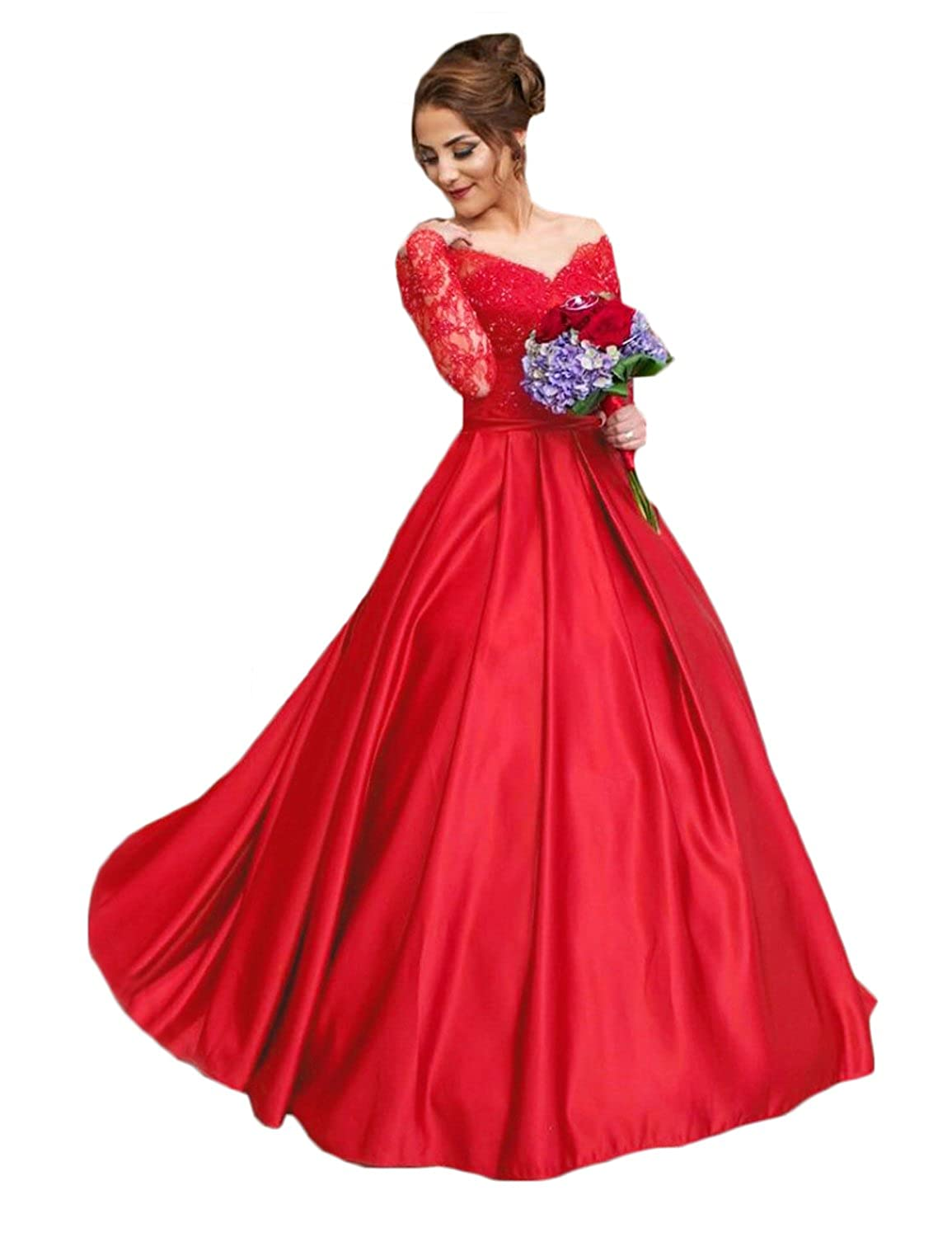 bcf1528fc6 CIRCLEWLD Off Shoulder Long Sleeve Lace Satin Evening Dresses Ball Gown  Wedding Women's Formal E160