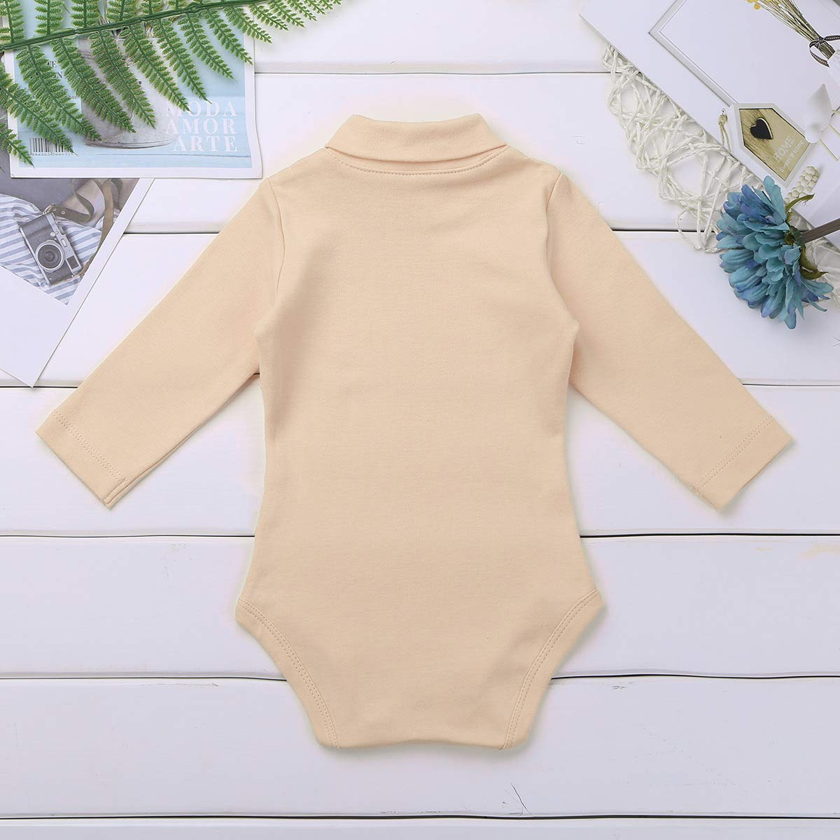 MSemis Infant Baby Girls Boys Baby Grows Cotton Long Sleeves Turtleneck Romper Jumpsuit Bodysuit
