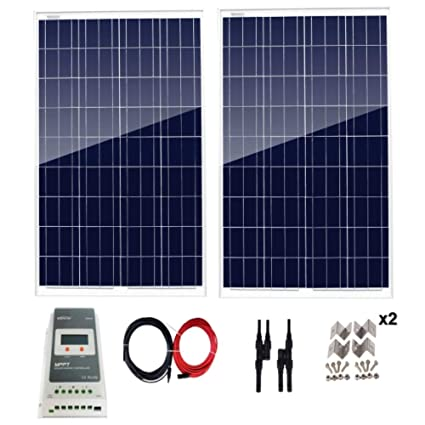 Amazon com : AUECOOR 200 Watt Solar Panel Kit 200W 12V Off
