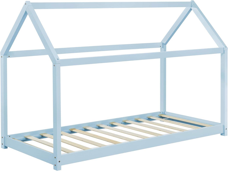 en.casa] Cama para niños de Madera Pino - 200x90cm - Cama Infantil - Forma de casa - Azul Lacado Mate: Amazon.es: Hogar