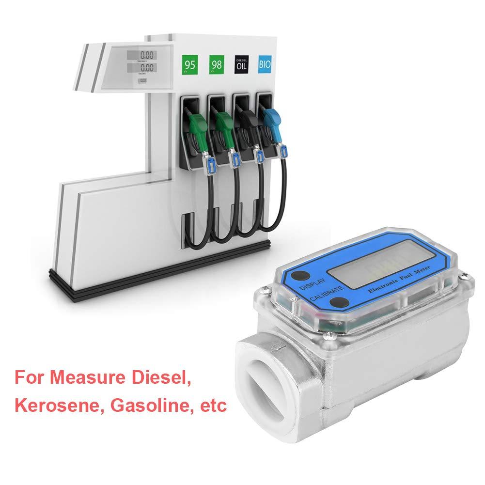 1″ Digital Turbine Flow Meter,Gas Oil Fuel Flowmeter,Pump Flow Meter ,Diesel Fuel Flow Meter,High Accuracy,for Measure Diesel, Kerosene, Gasoline, etc.(Blue) by Acogedor
