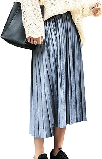 ShiFan Mujer Midi Faldas Plisada Alta Cintura Tallas Grandes ...