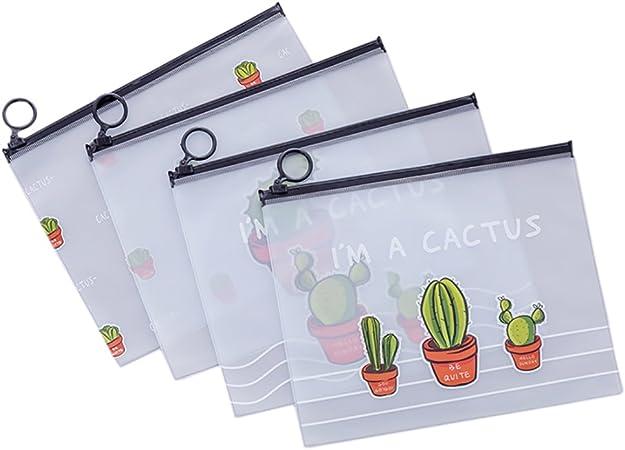 fablcrew 4 piezas en estuche escolar PVC cremallera bolsa cosméticos, diseño Cactus Pochette de lápiz y cierres éclairs gran capacidad bolígrafo Stocker bolígrafo para Estudiantes 17.1 * 21.2 cm: Amazon.es: Hogar