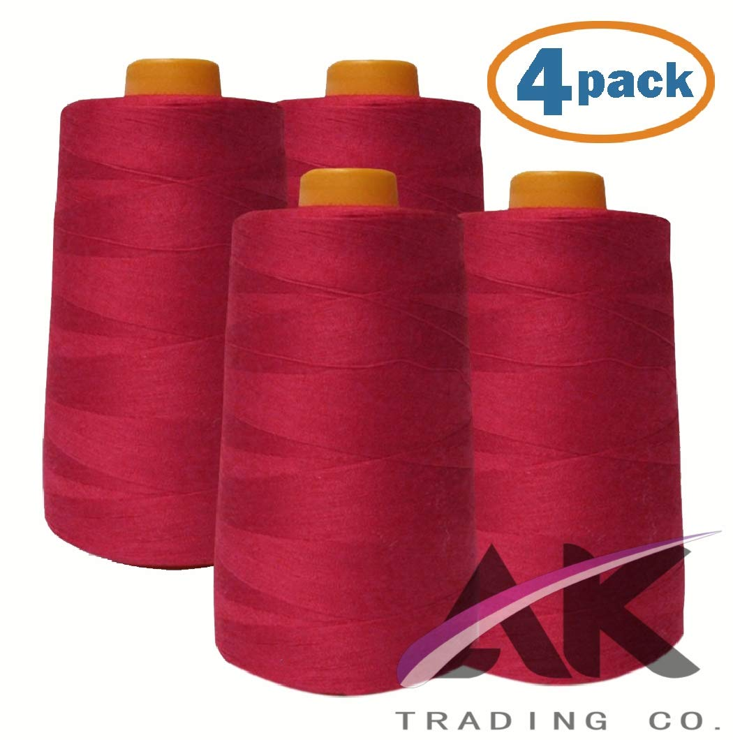 AK Trading 4-Pack Red All Purpose Sewing Thread Cones (6000 Yards Each) of High Tensile Polyester Thread Spools for Sewing, Serger Machines, Quilting, Overlock, Merrow and Hand Embroidery by AK TRADING CO.