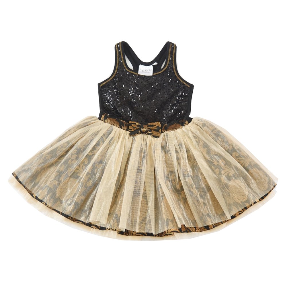 Ooh La La Couture Baby Girls Gold Sequin Brocade Tie Bow Dress 18M