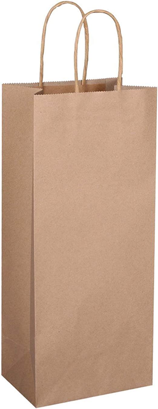 Flexicore Packaging Brown Kraft Wine Bottle Paper Bags Size 5.25 Inch X 3.5 Inch x 13 Inch Count Brown 5 Bags Color