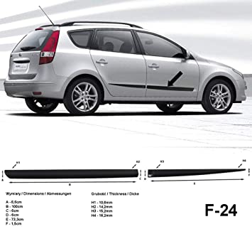 Spangenberg Listones de protección Lateral Negro para Hyundai i30 CW I Combi 1. generación i30cw año de construcción 10.2007 - 2011 F24 (370002401): ...