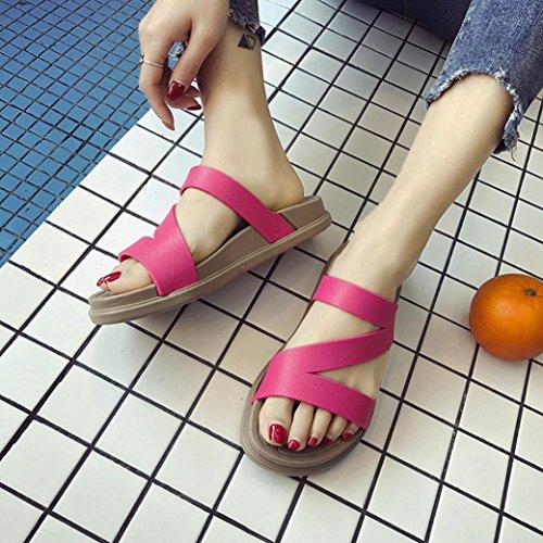 sólido 2018 Hei Venta chanclas Plano las Talla Moda Ba Mujeres Rojo caliente del Sandalias Rose Zapatos Zha tirón Sandalias Viaje de simples verano color Chanclas casuales de del mujeres 6wqv45wx