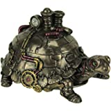 Veronese Design Resin Decorative Boxes Amazingly Detailed Steampunk Tortoise Trinket Box 6.75 X 4 X 4 Inches Bronze