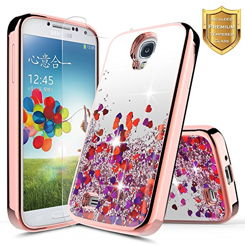 Galaxy S4 Case with [Tempered Glass Screen Protector], NageBee Quicksand Liquid Floating Glitter Flowing Sparkle Bling Luxury Clear Soft Case for Samsung Galaxy S4 S IV I9500 GS4 (Rose Gold)
