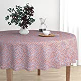 Roostery Round Tablecloth - Tile Byzantine Knot Moorish Moroccan Islamic Spanish by Muhlenkott - Cotton Sateen Tablecloth 70in