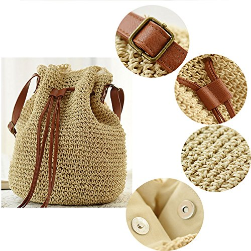 Bucket Straw Korean Shoulder Donalworld Bag Lady Bag Drawstring Small Woven Beige Hobo wUtA8Ztqx