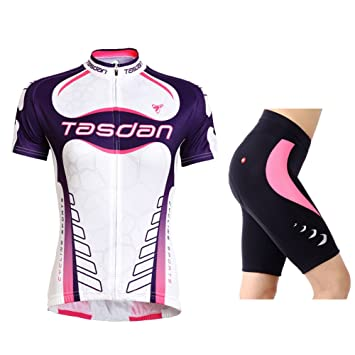 TASDAN Bicycle Cycling Jersey Suit Short Sleeve Spring Summer Outdoor Sports  Women s Pants Shorts with Coolmax Pad  Amazon.co.uk  Sports   Outdoors d01db39fe