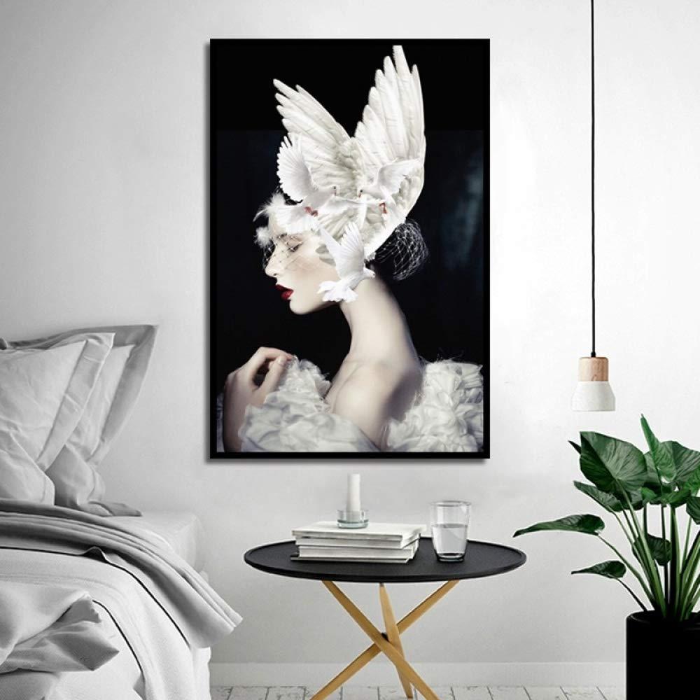 tzxdbh Cartel Creativo nórdico Chica de Belleza con Pintura ...