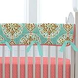 Carousel Designs Coral and Aqua Medallion Crib Rail Cover