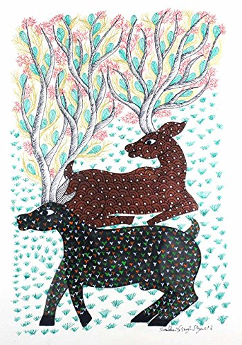 IMI Beautiful Deer grazing Gond Wall Hanging by Tribal Artist from MP(Size-10 Inch x 14 Inch x 0.7 Inch), Set of-1 (Shower Curtens)