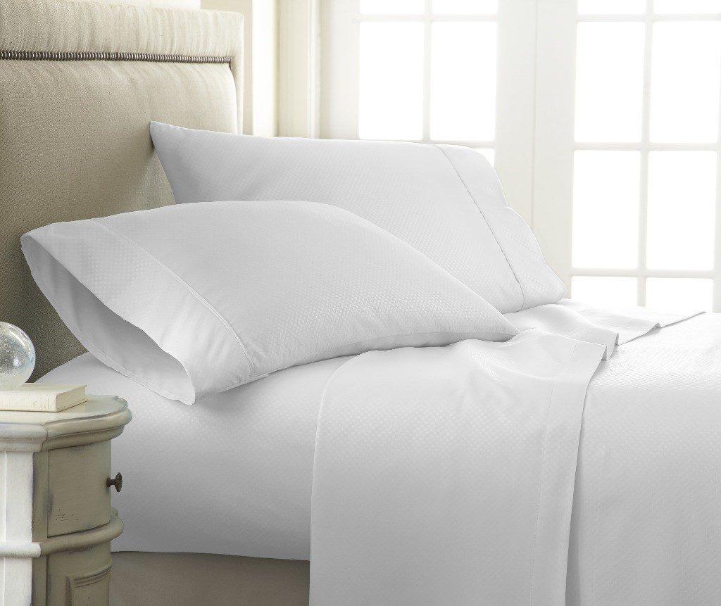 Soft Essentials Premium Embossed Checker Design 4 Piece Bed Sheet Set (California King - White)(Pack of 12)