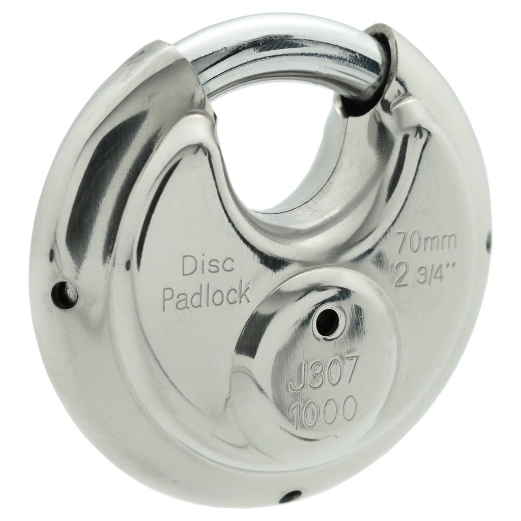 10 Stainless Steel Disc Padlock 2-3/4'', KEYED Differ, 8010x10 by [BLANKNYC] (Image #3)