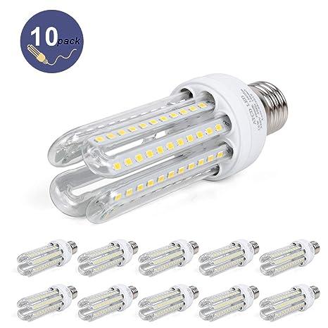10 x Bombilla LED Estándar E27, ATCD Bombilla LED 4U, Bombillas ...