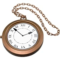 Jumbo Clock On Chain Medallion White Rabbit Alice In Wonderland Fancy Dress