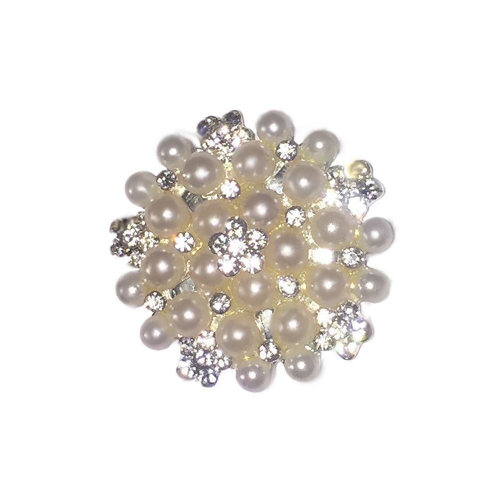 Pearl and Crystal Flower Magnetic Fashion Brooch