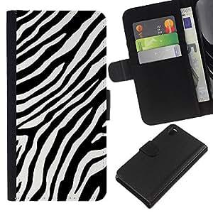 Planetar® Modelo colorido cuero carpeta tirón caso cubierta piel Holster Funda protección Para Sony Xperia Z3 D6603 ( Negro White Stripes Líneas África)