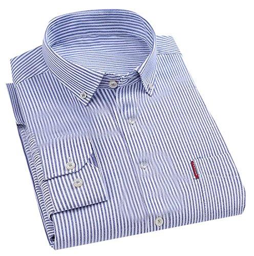 Fulok Mens Striped Oxford Long Sleeve No-iron Slim Button Up Shirt Light Blue (Blue Striped Oxford Shirt)
