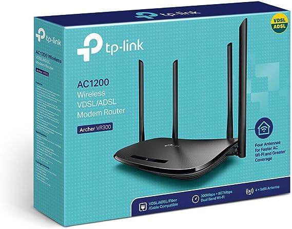 TP-Link VR300 Archer Modem Router VDSL FTTC FTTS ADSL hasta 100 Mbps, Wi-Fi AC1200 Dual Band, Negro