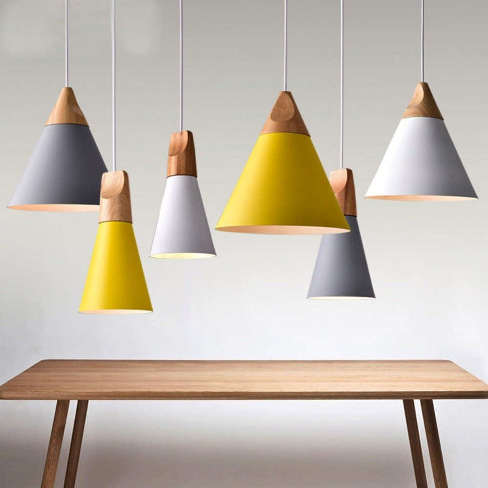 Modern Colorful Wood Pendant Lights Lamparas Colorful Aluminum lamp Shade Luminaire Dining Room Lights Pendant Lamp for Home Lighting (yellow-small-120mm)
