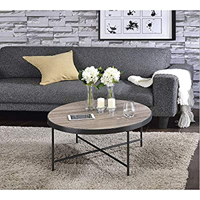 Benzara BM156782 Charming Coffee Table, Brown, One Size, - It includes one coffee table only. It has round shape. It features Metal Legs & Crossbar Support. - living-room-furniture, living-room, coffee-tables - 61wOkk0d82L. SS400  -